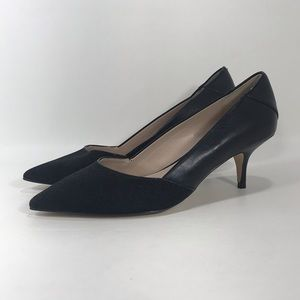 French Connection Black Leather Pointed Toe Pumps